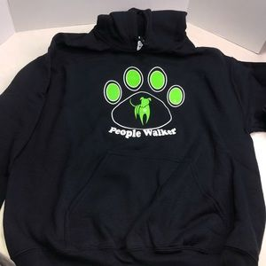 People Walker Dog Paw Hoodie Sweatshirt Black